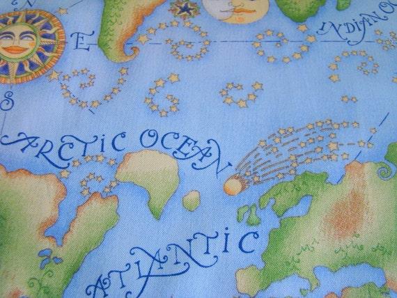 Debbie mumm celestial map fabric last yard by shesellsfabric for Celestial fabric by the yard