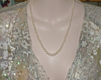 Pearl Necklace - Graduated Cultured Pearl and Vermeil Necklace - Wedding Pearls - One of a Kind Pearl Necklace