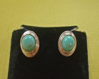Australian Variscite Earrings --  ON SALE   -- Variscite Post Earrings - Gold Post Earrings - One of a Kind Earrings - Gold-Filled Earrings