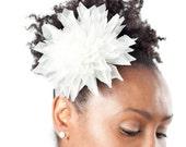 White Silk Organza Dahlia Bridal Hair Flower
