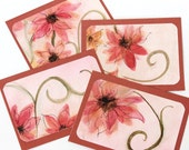 4 Pink Floral Original Watercolor Blank Note Cards Happy Birthday Thank You