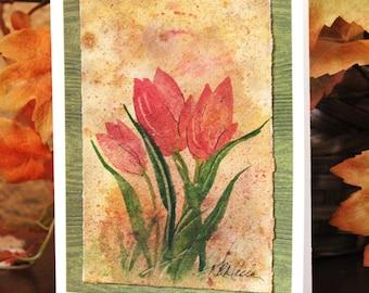 Original Watercolor Card  Tulips Card