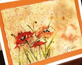 Original Watercolor Rustic Tuscan Poppies