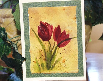 Original Watercolor Tulip Card Floral Greeting Card Thank You