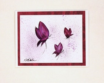 Original Watercolor Card Purple Butterfly Card Squiggle Art