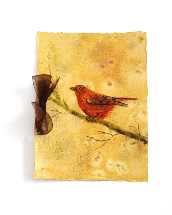Artist Journal Original Watercolor Red Tanager Bird Handmade Journal Scrapbook Wedding Vows Rustic Memory Album