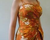 Vintage 1950s Hawaiian Dress, Tiki tropical wiggle dress, Rockabilly