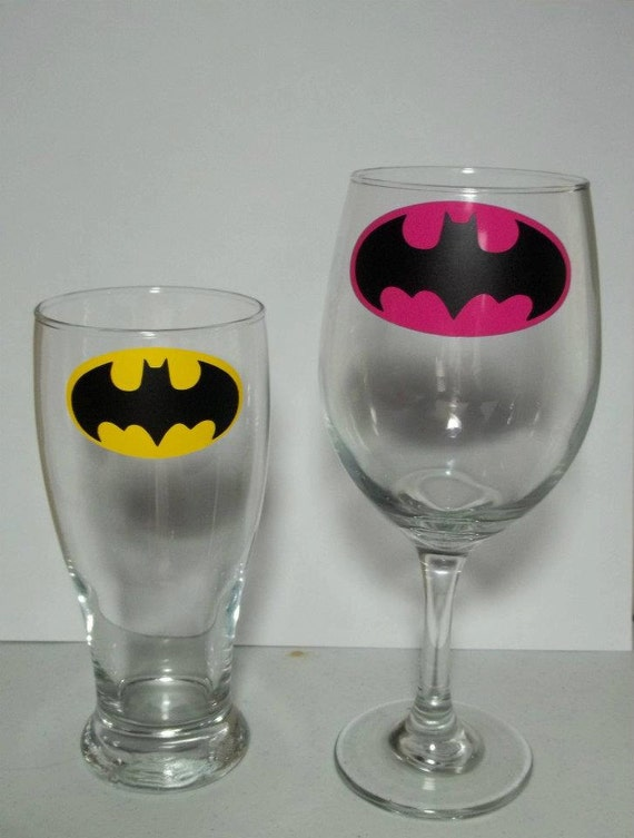 His and Hers Batman Beer Pilsner and Wine Glass Set