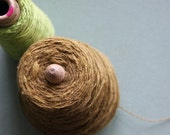 Vintage Yarn - lime green and brown - 1 large and 1 small spool