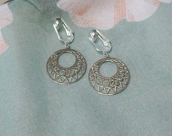 Clip on or Pierced Antiqued Silver Lightweight Hoop Earrings