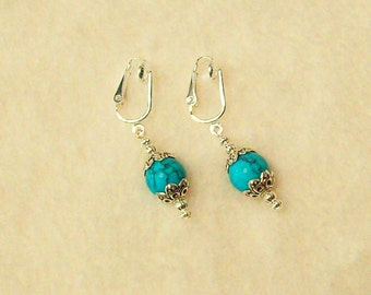 Clip on or Pierced Tibet Silver 10mm Turquoise Earrings