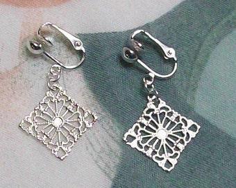 Elegant Diamond Square Silver Clip On Earrings or Pierced