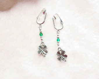 Lucky Irish Four Leaf Clover Silver or Gold Clip On or Pierced Earrings