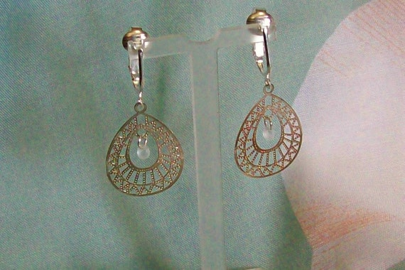 Silver Lightweight Teardrop Frosted Glass Clip On Earrings