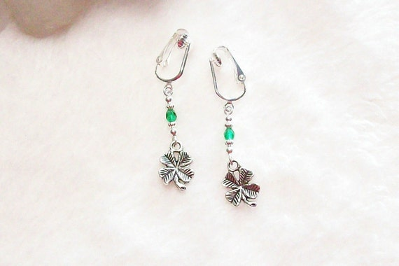 lucky four leaf clover silver or gold clip on or pierced