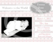 "Birth Announcement CUSTOMIZED Digital Photo Card 7.5""x6"" Costco Size"