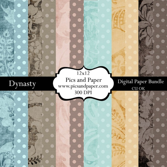 Digital Scrapbooking Paper for scrapbooking and crafts 12x12 Vintage Textured Damask INSTANT DOWNLOAD-DYNASTY