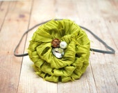 Avocado- Raw Edge Fabric Flower Skinny Infant Headband