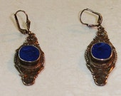 Antique Cast Sterling Silver and Lapiz Persian Dangle Drop Wire Earrings