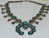 Vintage Native American Navajo Sterling Silver and Turquoise Squash Blossom Southwestern Necklace