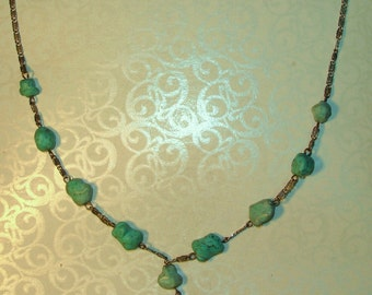 Vintage 1930's Southwestern Sterling Silver and Turquoise Nugget Necklace
