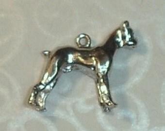 Vintage Large Sterling Silver Bulldog Bracelet Charm or Necklace Pendant