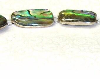Vintage Southwest Sterling Silver and Abalone Shell Loop and Bar Link Bracelet  Adjustable Length