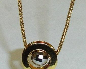 Vintage 14K Yellow and White Gold Disco Spinner Ball Slide Modern Pendant Necklace VALENTINE Gift