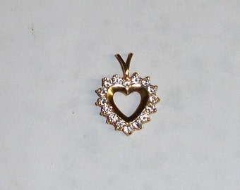 Vintage Gold Vermeill 925 Sterling Silver CZ Open Heart Charm or Pendant