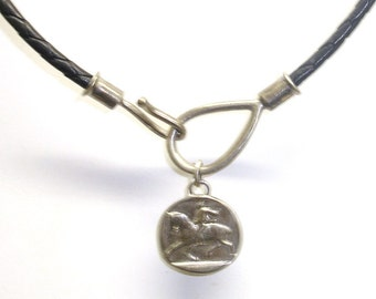 Vintage Sterling Silver And Braided Leather Cord Faux Ancient Coin Dangle Choker Necklace