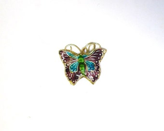 Vintage Chinese Gilt Silver Guilloche Enamel Butterfly Bracelet Charm or Necklace Pendant