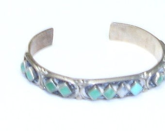 Vintage Native American Southwestern Old Dead Pawn Signed Sterling Silver & Turquoise Cuff Bracelet- Needs 1 Stone