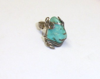 Vintage Artisan Sterling Silver Wire Wrapped Turquoise Nugget Unisex Ring