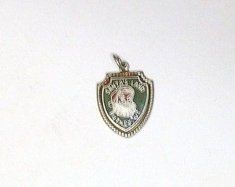 """Vintage Sterling Silver Enameled """"Santa's Land"""" Putney, VT Travel Souvenir Bracelet Charm"""