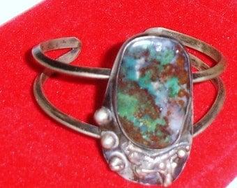 Vintage Southwest Sterling Silver Native American Large Lavander, Red & Blue-Green Cab Bracelet