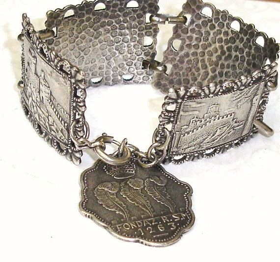 Reserved 4 WSHAMES- Antique Vintage Coin Silver Souvenir San Marino Italy Bracelet Grand Tour