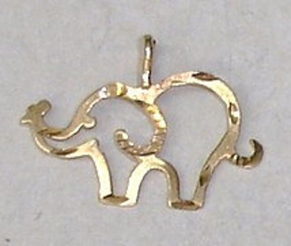 Vintage 14K Yellow Gold Diamond Cut Michael Anthony Signed Elephant Charm or Pendant