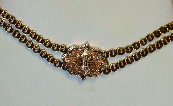 Antique 10K Rose Gold Taille d'Epergne & Seed Pearls Slide Necklace VALENTINE Gift