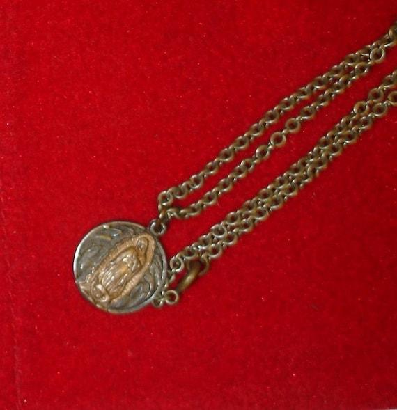 Antique Mexican 999 Fine Silver Vrgin Mary Catholic Religious Medal Necklace-  Joyeria Catolica Mexicana Plata 999