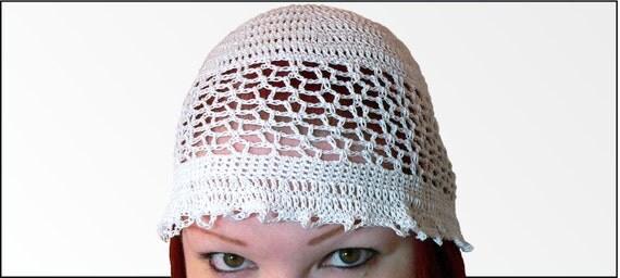 Crochet beanie cotton lacy summer white hat