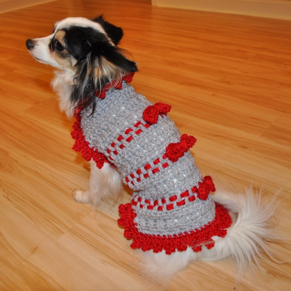 Crochet Pattern Small Dog Sweater Ribbons And Bows