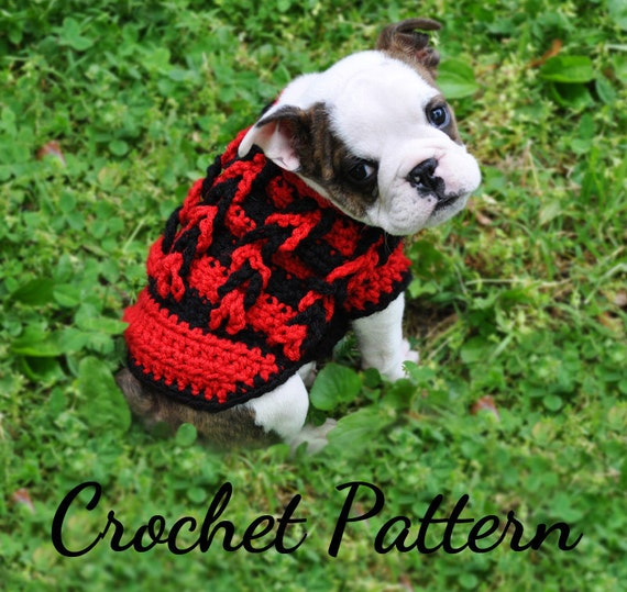 Crochet Xl Dog Sweater : ... Crochet Small Dog Sweater Decorative Loop Design, PDF Crochet Sweater