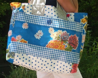 ChristinaBags Large Oilcloth Tote Bag Blue Floral With Polka Dots