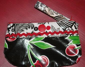 Oilcloth Cherries Wristlet