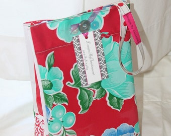 Oilcloth Lunch Bag Red  and White Floral