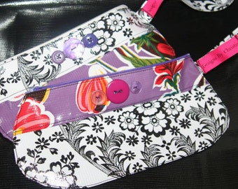 Oilcloth Wristlet Black and White Purple Flowers
