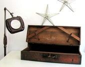 Vintage Wood Suitcase Salesman Case HUGE