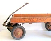 Antique Wagon Wood Red Rider 1930s