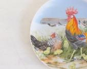 Rooster Plate Hand Painted Vintage Japan dtteam theteam