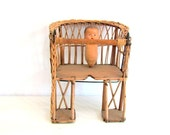 Vintage Bicycle Seat Childs Wood Wicker French Country Cottage Chic Garden Decor